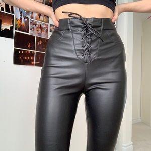 Pants - ZARA Lace Up Leather Pants